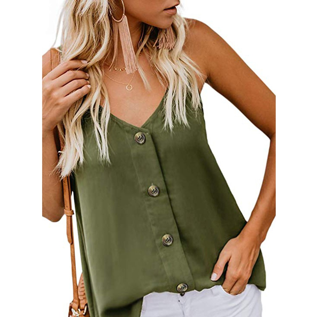 2019 Sexy Women Solid V-neck Vests Sleeveless Button Shirt Blouse Casual   Tank     Tops     Top   Camisole feminino рубашка женская *S