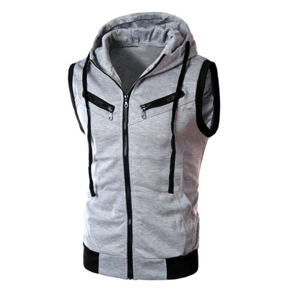 2020  New  Men's   Monochromatic  Hooded  Vest  Zipper  Pocket Sleeveless  Vest   Jacket