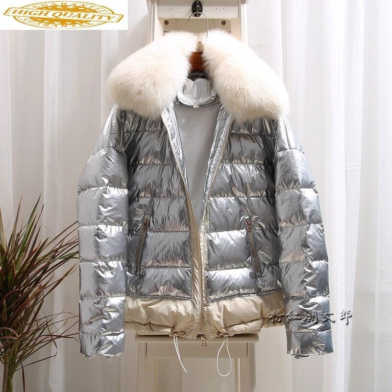 AYUSNUE 2020 Women's Down Jacket Winter Silver Bright Coat Big Fox Fur Collar Short Duck Down Jacket Women Warm Coats KJ2547