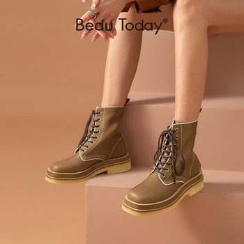 BeauToday Ankle Boots Platform Women Genuine Cow Leather Motorcycle Boots Lace-Up Round Toe  Winter Ladies Shoes Handmade 02365 beautoday chelsea boots women cow suede pointed toe chunky heel elastic ladies ankle boots handmade a03324