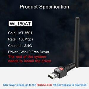 Image 5 - Czytnik kart pamięci Rocketek 150Mbps bezprzewodowej sieci Lan adapter USB WiFi MT7601 Mini bezprzewodowy dostęp do internetu Ethernet antena odbiornika klucz 2.4G dla Pc Windows bezprzewodowy dostęp do internetu