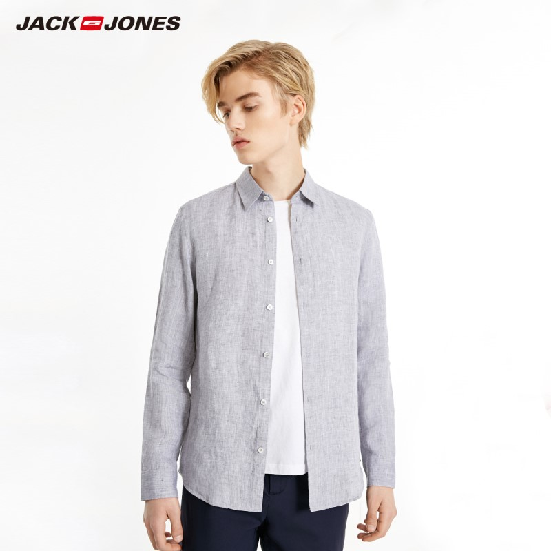 JackJones Men's 100% Linen Basic Long-Sleeve Shirt Menswear 219105522