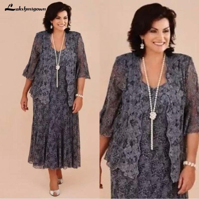 Gray Mother Of Bride Dresses Suits With Jackets Lace 3 Pieces Tea Length Plus Size Outfit Formal Wedding Party Guest Dress