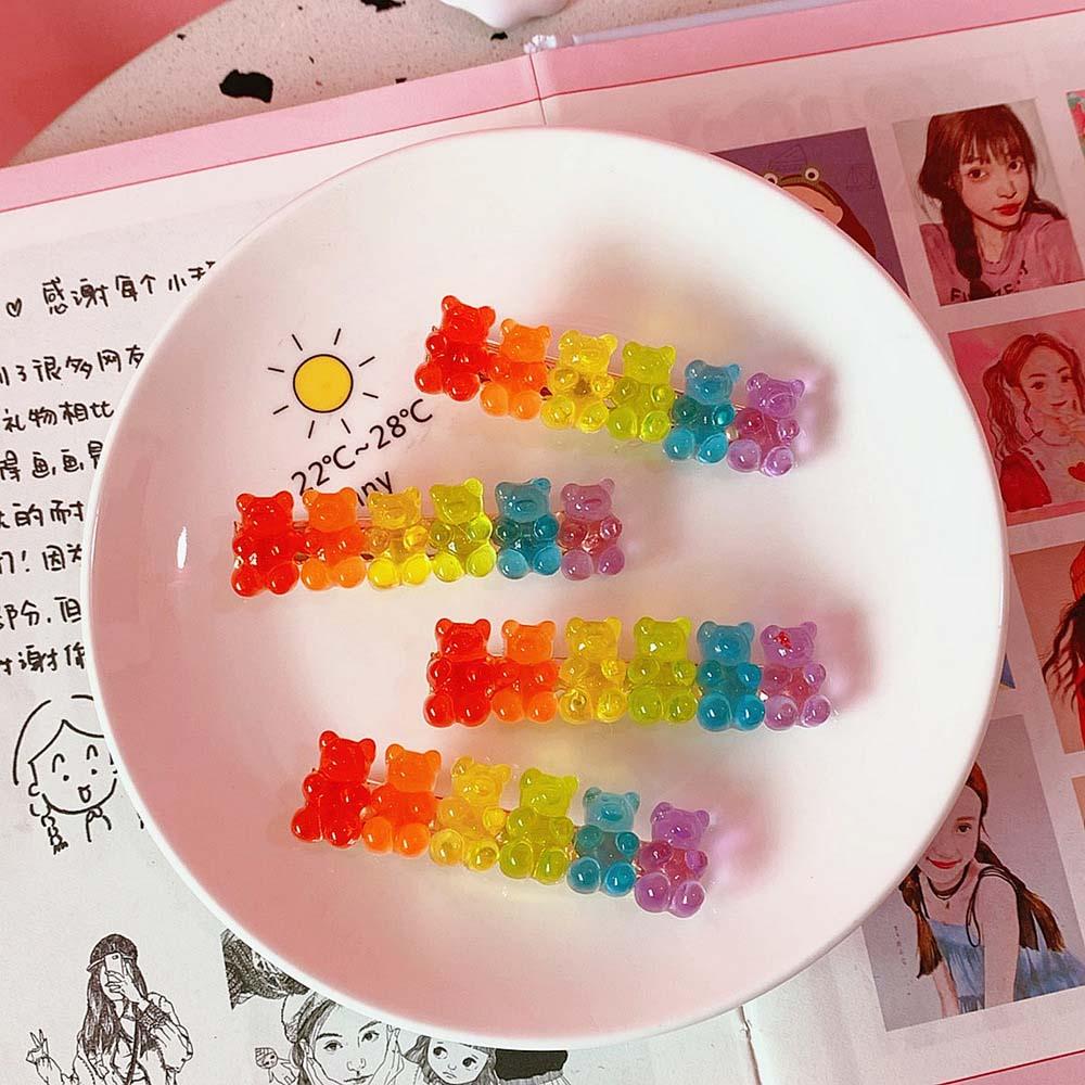 Color Candy Bear Duckbill Clip Cool Hairpin Side Clip Jelly Bear Clip