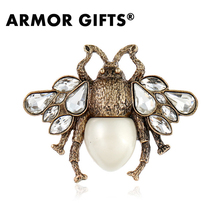 High Quality Hot Selling Fashion Women Pearl Bee Brooches Vintage Style Insect Brooch Pin