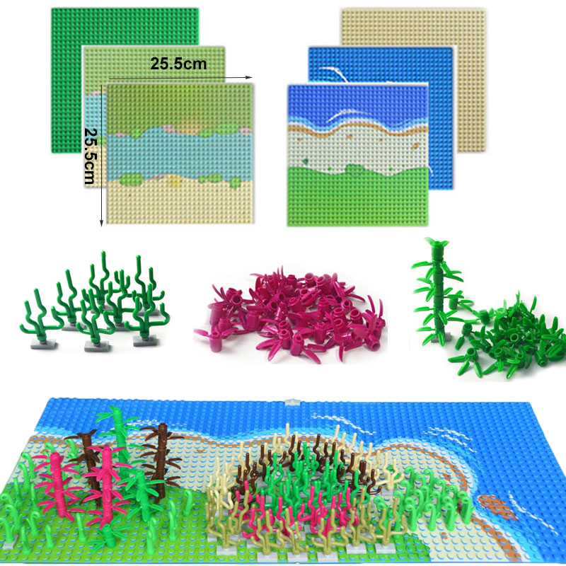 City Tree Plant Building Blocks Seaweed Grass Bush Leaf Bamboo Accessories Island River Base Plate Compatible LegoINGlys DIY Toy