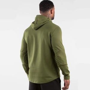 Image 4 - Armée vert décontracté sweat à capuche pour homme coton sweat gymnases Fitness entraînement pull printemps mâle vêtements de sport à capuche hauts marque vêtements