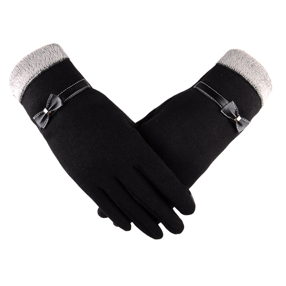 Fashion Women Winter Warm Gloves Bowknot Protect Hand Mittens Elegant Female Touch Screen Soft Warm Suede Glove Breathable