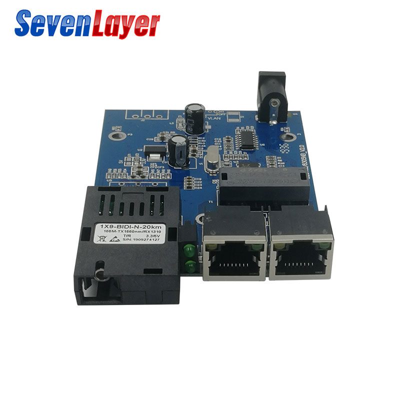 1 SC 2 RJ45  Fast Ethernet Switch 10/100M Fiber Optical 20KM Media Converter Single Mode Fiber Port Board PCB