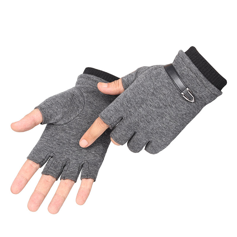 Gloves Men Fingerless Winter Warm Velvet Touch Screen Half Finger Full Gloves Jacquard Knit Driving Autumn Mitten Gloves Black