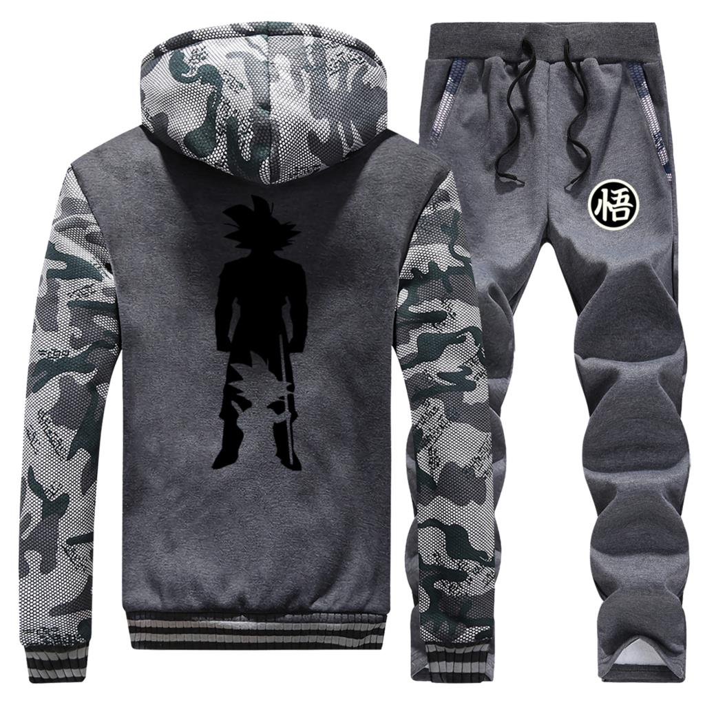 Men Dragon Ball Print Sport Fleece Men Jacket+Pant 2Pcs Set Winter Outerwear Thick Hooded Hoodies Clothing Casual Sweatpant Suit