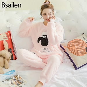 Image 1 - Herfst Winter Vrouwen Pyjama Sets Coral Fleece Nachtkleding Warme Badjas Nightgowns Kimono Pyjamas Thuis Kleding Coral Fleece