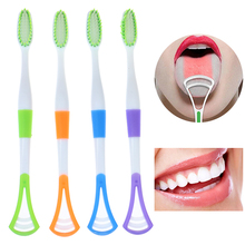 1Pcs 2 in 1 Brush Tongue Scraper Cleaner Dental Oral Toothbrush Cleaning Tool 1PCS