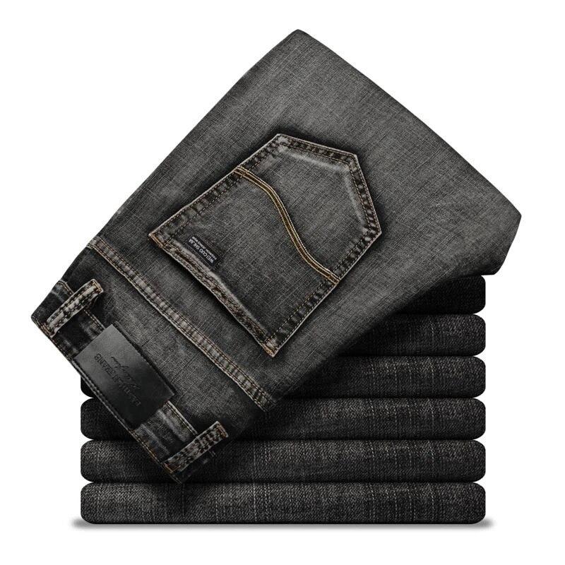 2021 Luren  Men's Stretch-fit Jeans Business Casual Classic Style Fashion Denim Trousers Male Black Blue Gray Pants