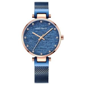 Image 2 - MINI FOCUS Women Watches Brand Luxury Fashion Casual Ladies Wrist Watch Waterproof Blue Stainless Steel Reloj Mujer Montre Femme