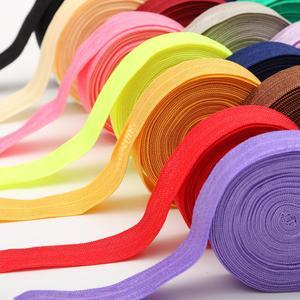5 Yard 15mm Solid Color Shiny FOE Foldover Elastic Ribbon Elastic Band Hair Ties Headband Dress Lace Trim DIY Sewing Accessories