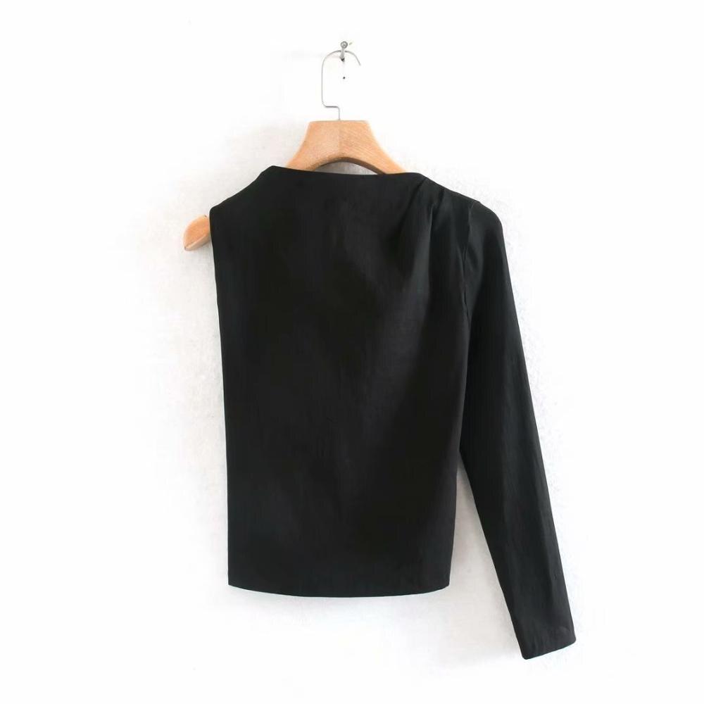 New Women One Shoulder Black Asymmetrical Shirt Blouses Women Sexy Backless Roupas Femininas Side Zipper Chemise Shirts LS6410