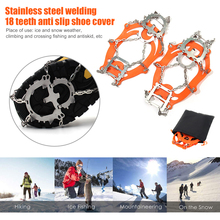 18-Teeth Crampons Claws Outdoor Climbing Shoes-Cover Cleats Grip Snow-Spikes Anti-Slip