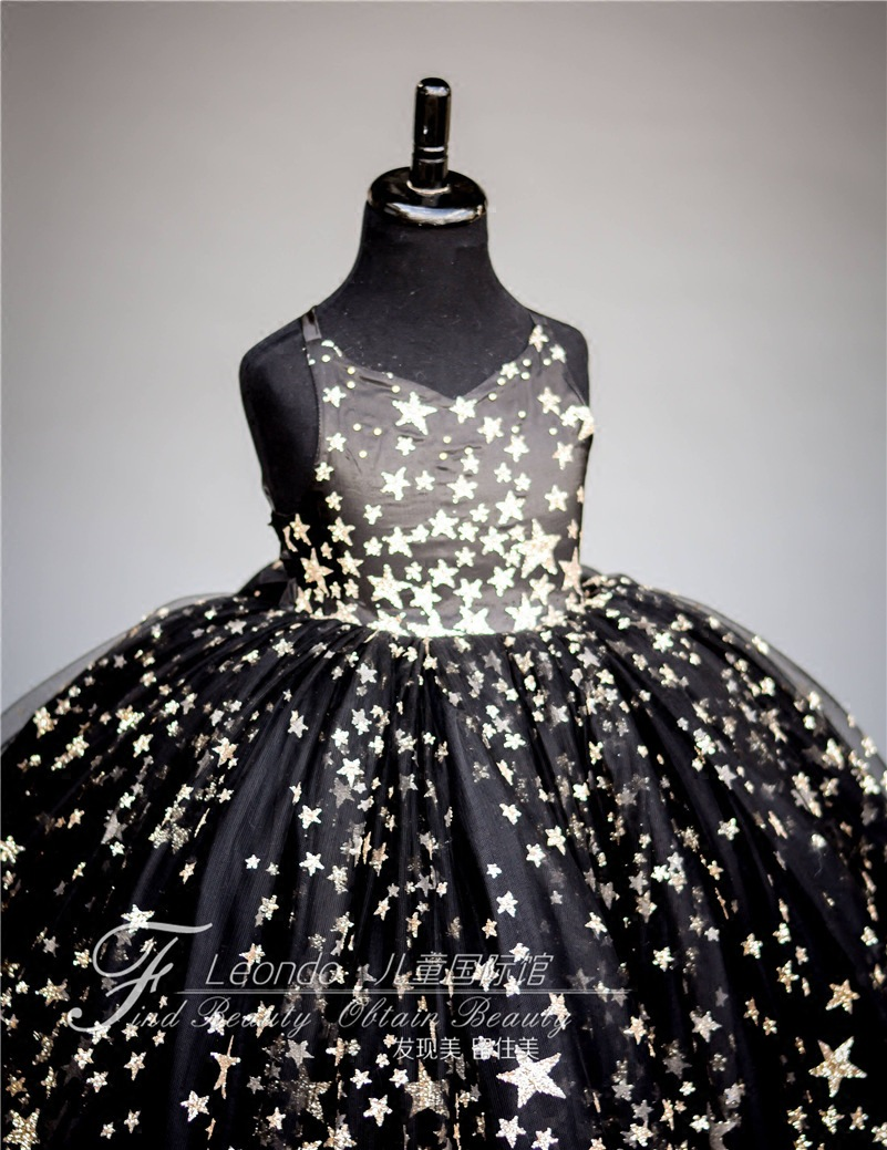 Girls Evening Dress 2019 New Style Black And White With Pattern Princess Dress Model Catwalks Tutu CHILDREN'S Costume Stage Form