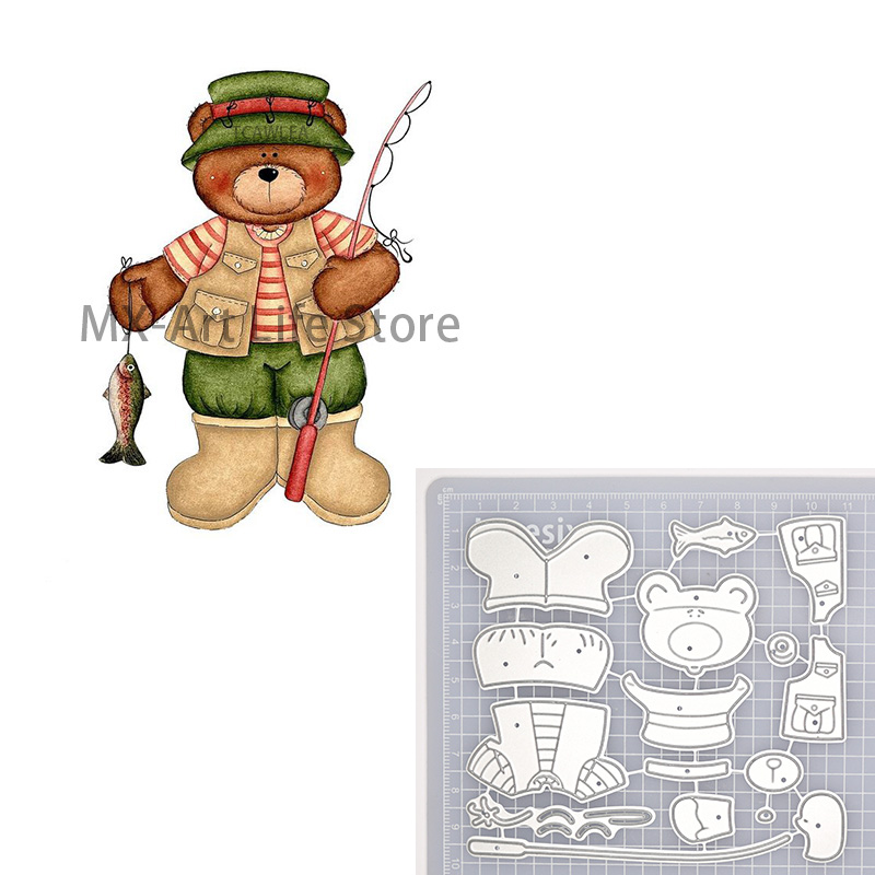 Fisherman Bear Metal Cutting Dies Animal Doll Stencil For DIY Scrapbooking Card Decorative Embossing Die 2020