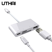 UTHAI-multiadaptador tipo C C05, conector USB de carga PD, lector de tarjetas SD TF CF para Macbook, portátil, iPad pro, HUAWEI y Xiaomi