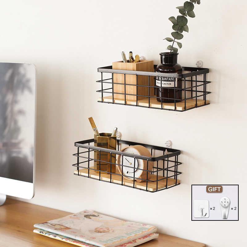 Eisen Holz Wand Regal wtih Bord Hängende Lagerung Korb Kleinigkeiten Regale Halter Lagerung Rack-Home Dekoration Organizer