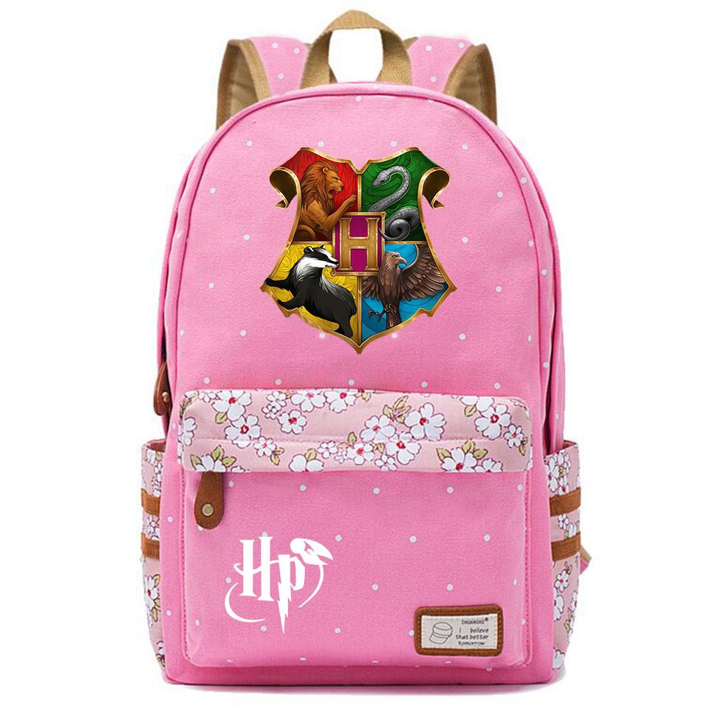 Image 5 - F0304 Magic Hogwarts School Logo Prints Children Schoolbag Girls School bag Women Bagpack Teenagers Canvas Lady Femme BackpackBackpacks   -