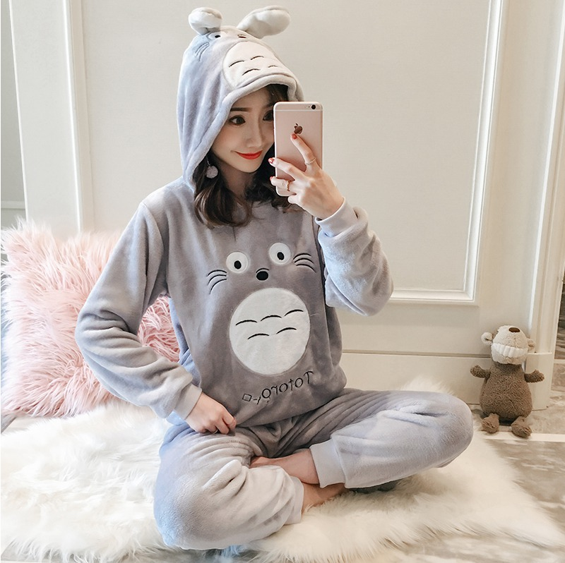 Thick Warm Flannel Cute Cartoon Totoro Hooded Pajamas Sets Women Winter Long Sleeve Coral Velvet Sleepwear Pijama Mujer Homewear