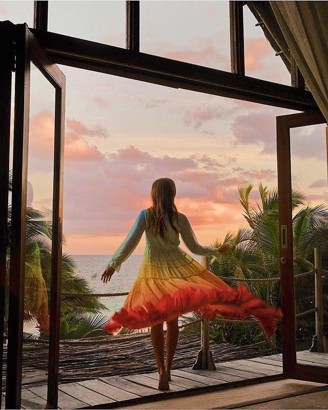 Été plage robe femmes Boho arc-en-ciel dégradé Maxi robes Sexy profonde col en V élégant en mousseline de soie tenue décontractée - 5