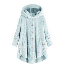 Sudaderas con capucha invierno 2019 moda mujer botón abrigo mullido cola Tops Sudadera con capucha suelta Mujer Tops # A9