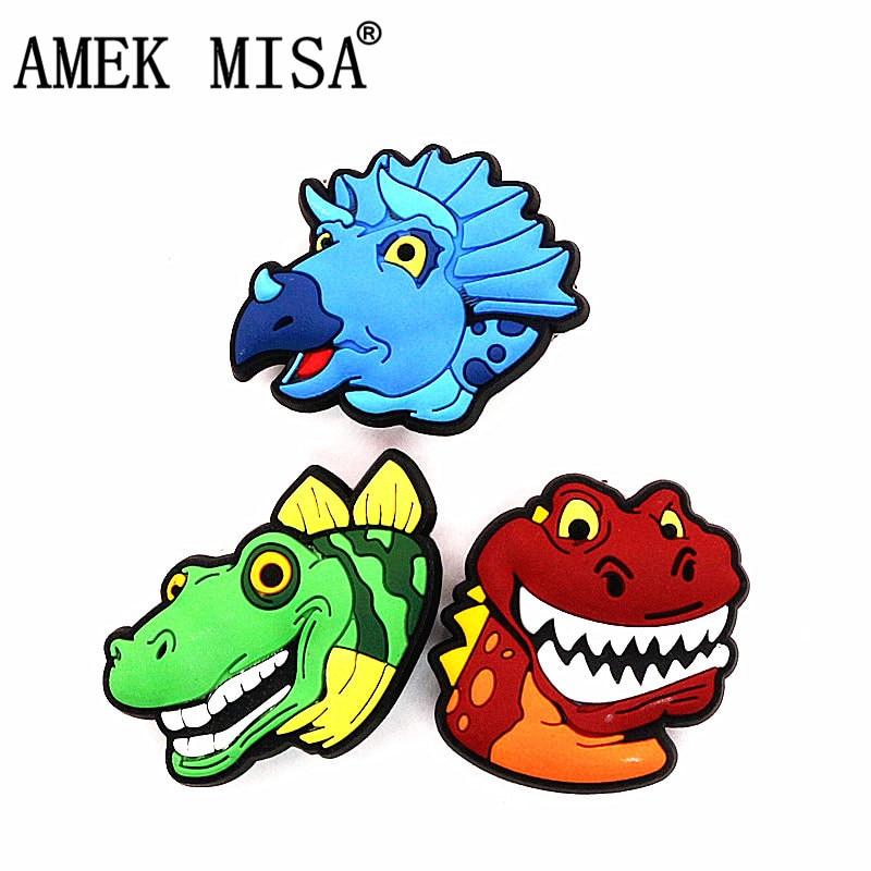 Single Sale 1pcs Original Dinosaur Shoe Charms Decoration Cartoon Blue/Red/Green Dinosaurs Shoe Buckle Accessories Free Shipping
