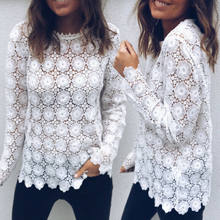 Fashion Women Loose Casual Long Sleeve O-neck Tee Lady Elegant Lace Hollow Out Tops T-Shirt Hot Style(China)