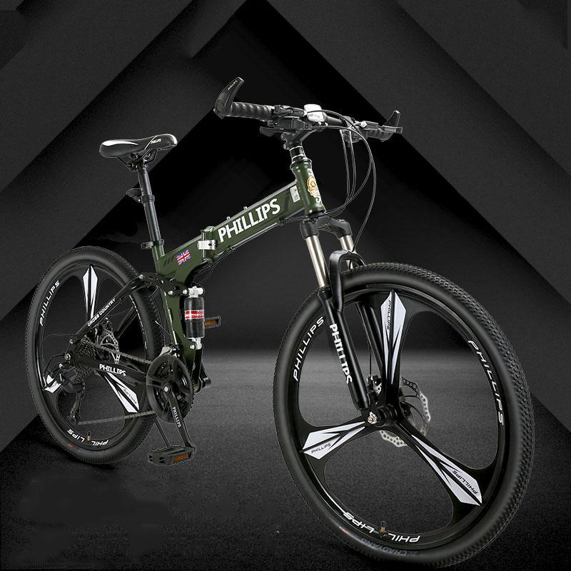 Mountain Bike Variable Speed Folding Double Disc Brake  Aluminum Alloy Rim One Wheel 3 Knife Student Bicycle 2019