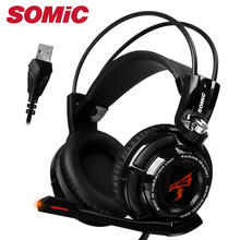 Gaming Headphone 7.1 Sound Over ear Vibration Headset  Earphones USB with Microphone Computer Original Genuine Brand Somic G941