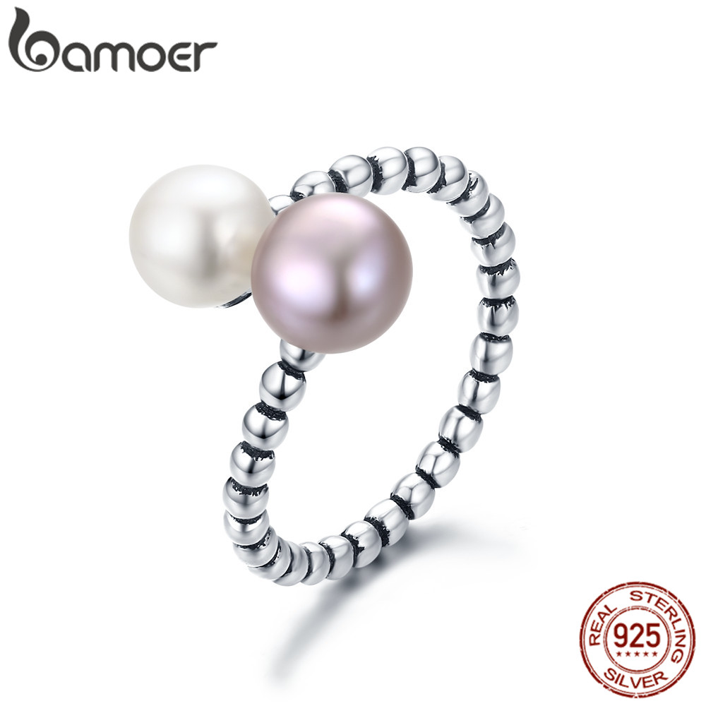 BAMOER Double Color Pearl Cross Finger Ring For Women Ajustable Size Fit 5 6 7 8 9 Authentic Sterling Silver 925 Jewelry GXR235