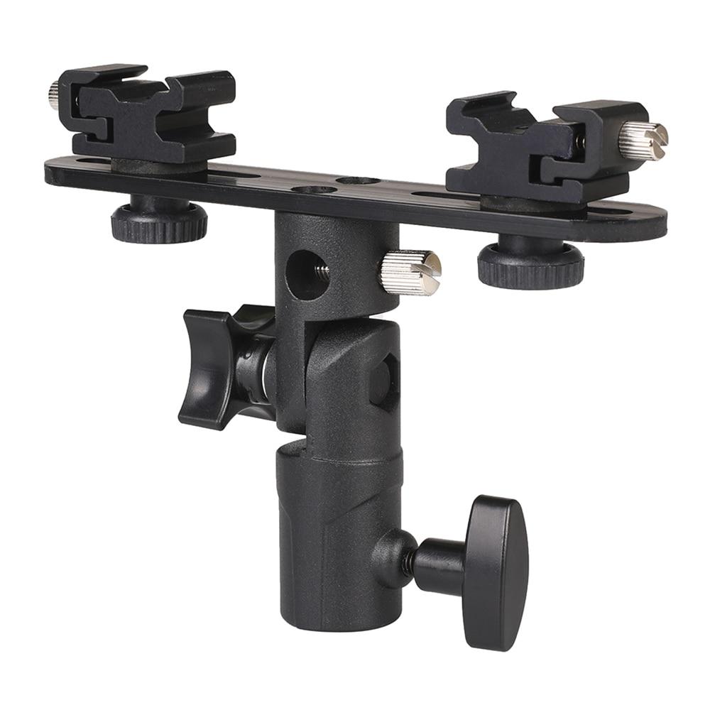 2 Hot Shoe Mounts & Photo Studio Accessories Flash Bracket Umbrella Holder Stand For Monitor Nikon Canon Speedlite Mic Magic Arm