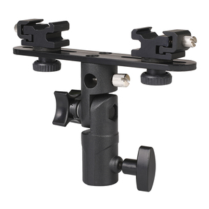 Image 1 - Photo Studio Accessories Flash Bracket Umbrella Holder Light Stand Bracket with 2 Hot Shoe Mount For Flash Speedlight Youngnuo