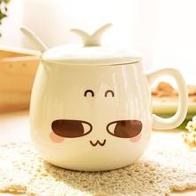 Heat Resistant Ceramic Cup Cute Cartoon Printing Expression Coffee Tea With Lid And Spoon Drinking Utensils