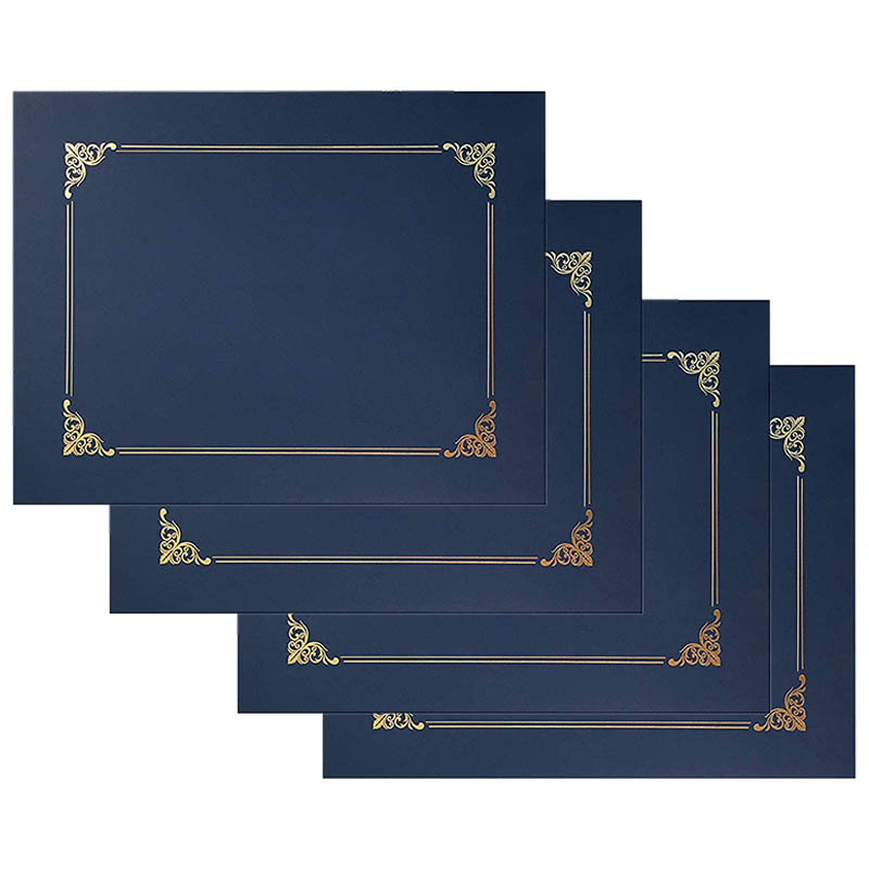 25Pack Blue Certificate Holders, Diploma Holders, Document Covers With Gold Foil Border,for Letter Size Paper