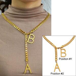 Ожерелье с алфавитом Anniyo, персонализированные ожерелья с буквенным принтом для женщин, девушек, мам, на заказ, оригинальные ювелирные издел...