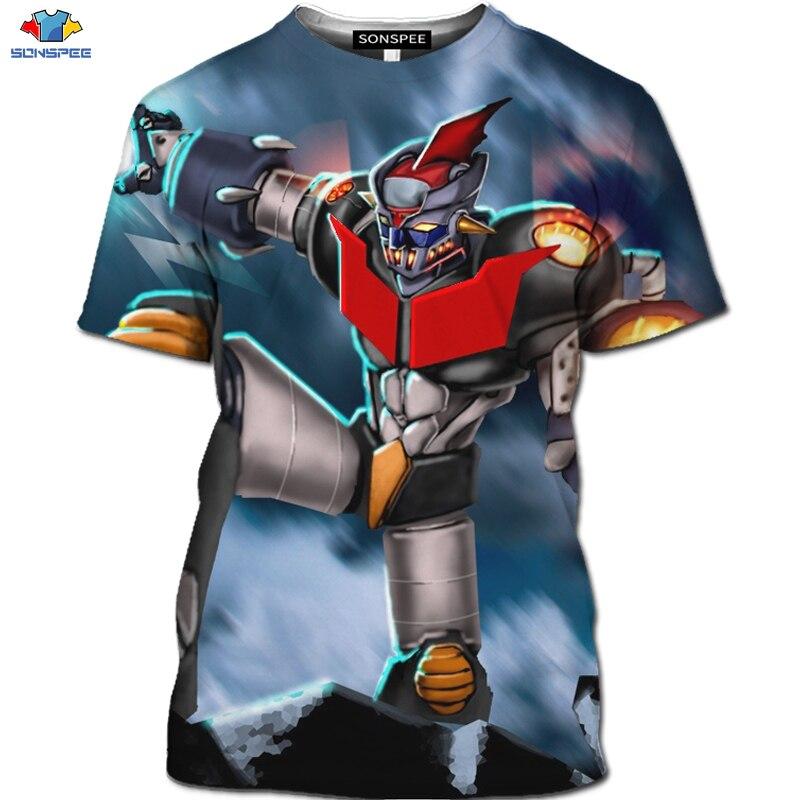 SONSPEE 3D  Cartoon Knight Comic Shirt Mech Brother Harajuku Shirt Tops Robot Battle Anime Mazinger Z T-shirt  Gym Men's T-shirt