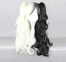 Anime Danganronpa Monokuma Cosplay Wig White Black Mix Long Ponytails Curly Heat Resistant Synthetic Hair Wigs + Wig Cap