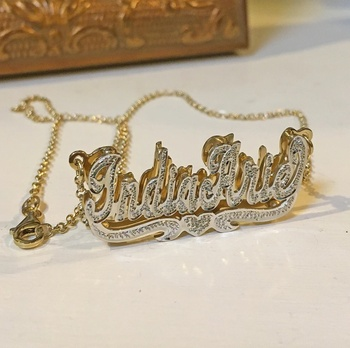 DUOYING Zircon Custom Necklace Double Gold plated Nameplate 3D Necklace Personalized Necklaces Choker Women Name Necklace Gift