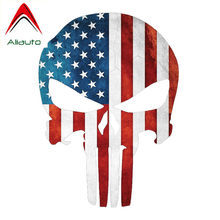 Aliauto Car Stickers American Flag Military Punisher Skull Cover Scratches Vinyl Decal for Bmw Toyota Hilux Chevrolet ,13cm*10cm(China)