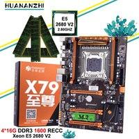 Desconto placa-mãe com slot m.2 nvme huananzhi deluxe x79 placa-mãe de jogos com cpu xeon e5 2680 v2 ram 64g (4*16g) reg ecc