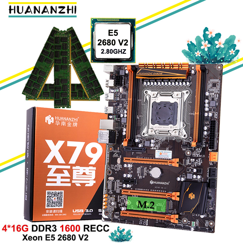 Discount motherboard with M.2 slot NVMe HUANANZHI deluxe X79 gaming motherboard with CPU Xeon E5 2680 V2 RAM 64G(4*16G) REG ECC image