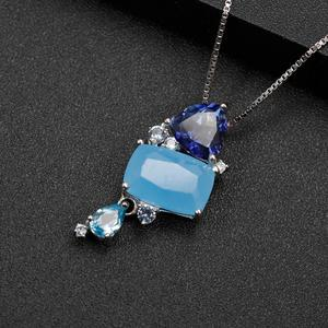 Image 4 - GEMS BALLET Natural Aqua blue Calcedony Gemstone Fine Jewelry 925 Sterling Silver Handmade Candy Pendant Necklace For Women