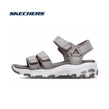 Женские сандалии на танкетке skechers черные среднем каблуке