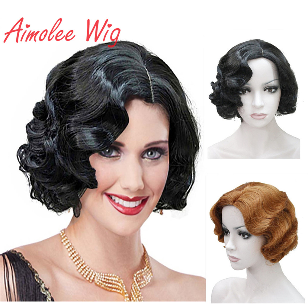 Aimolee 1920's Flapper Hairstyles Wig For Women Finger Wave Retro Style Short Synthetic Wig Cosplay
