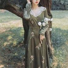 Зима Новое поступление кружевное женское вельветовое платье с v-образным вырезом и цветочной вышивкой с длинным рукавом
